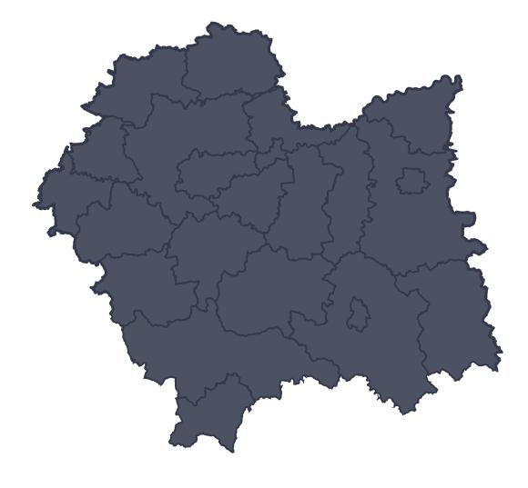 Mapa województwa miejscowości Brzesko