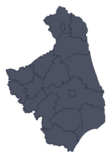 Mapa województwa miejscowości Mońki