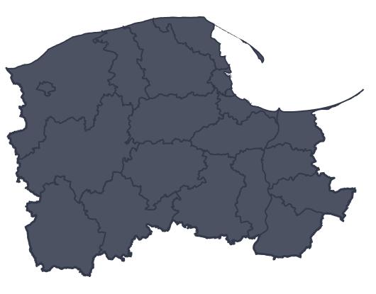 Mapa województwa miejscowości Kościerzyna