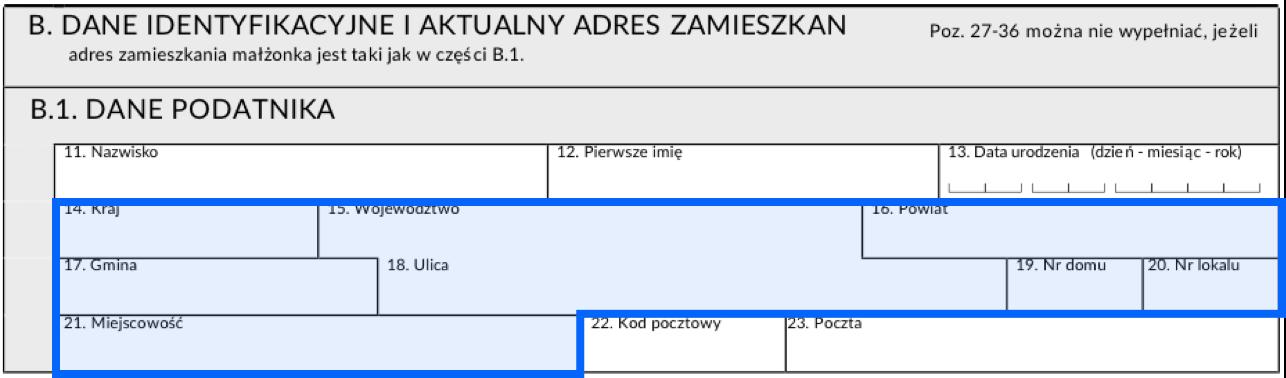 Pola w deklaracji PIT do wpisania adresu zamieszkania
